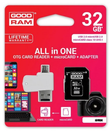 microSD 32GB CARD class 10 + adpter + card reader - blister