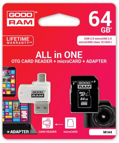microSD 64GB CARD class 10 + adpter + card reader - blister